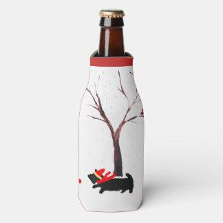 Scottie Dog and Robin Christmas Bottle Cooler