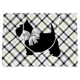Scottie Dog and White Bow on Plaid Large Gift Bag