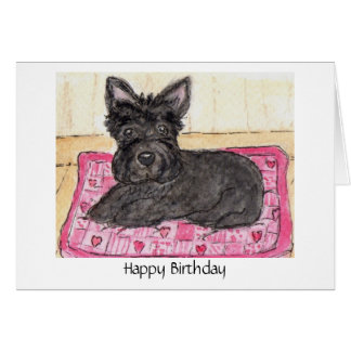 Scottie Dog art Birthday card Scottish terrier