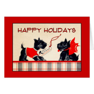 Scottie Dog Happy Holidays Christmas card