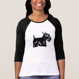 Scottie Dog Ladies 3/4 Sleeve Raglan Top