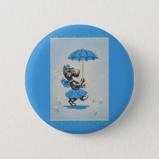 Scottie dog lady carrying umbrella 6 cm round badge