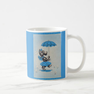Scottie dog lady carrying umbrella coffee mug