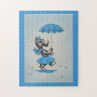 Scottie dog lady carrying umbrella jigsaw puzzle