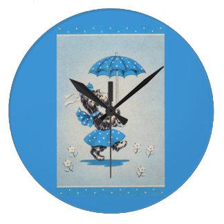 Scottie dog lady carrying umbrella large clock