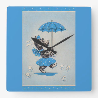 Scottie dog lady carrying umbrella square wall clock