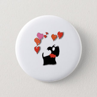 Scottie Dog Love Hearts 6 Cm Round Badge