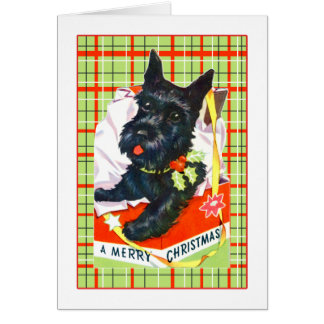 Scottie Dog Merry Christmas Card with plaid