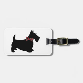 Scottie Dog Plaid Bow Tie Luggage Tag