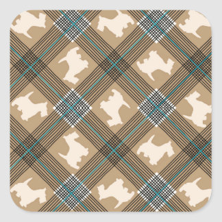Scottie Dog Plaid Tartan Square Sticker