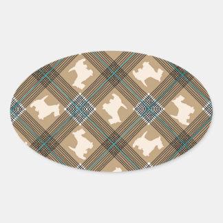 Scottie Dog Plaid Tartan Oval Stickers
