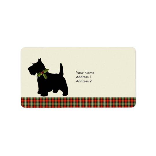 Scottie Dog Scotch Plaid Christmas Custom Address Label