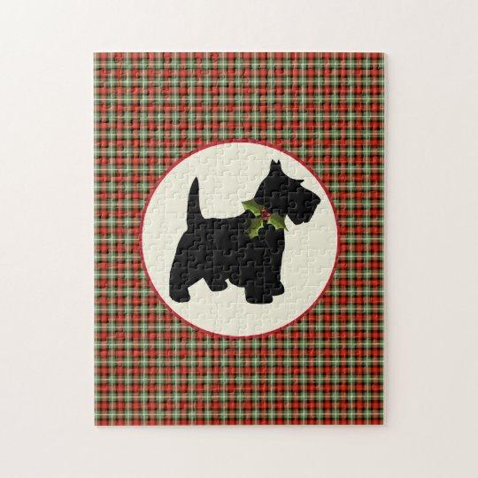Scottie Dog Scotch Plaid Christmas Jigsaw Puzzle