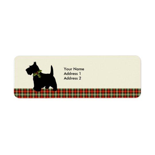 Scottie Dog Scotch Plaid Christmas Personalised Return Address Label
