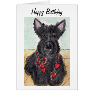 Scottie dog  Scottish terrier birthday card  art