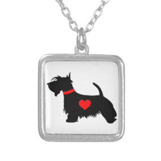 Scottie Dog Silver Plated Square Necklace