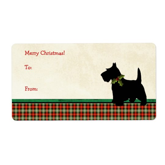 Scottie Dog Traditional Plaid Christmas Custom Shipping Label