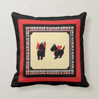 Scottie dogs black scotty on red plaid Scotties Throw Pillow