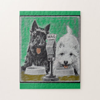 Scottie dogs Blackie and Whitie on the radio Jigsaw Puzzle