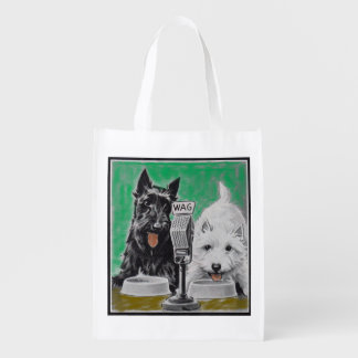 Scottie dogs Blackie and Whitie on the radio Reusable Grocery Bag