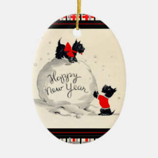 Scottie dogs Happy New Year Ceramic Oval Decoration