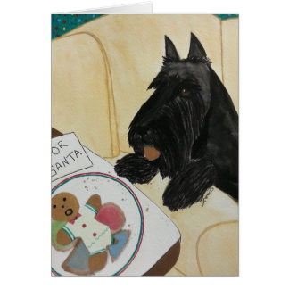 Scottie Hungry Waiting for Santa Card
