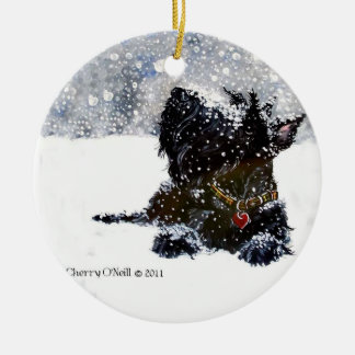 Scottie in the snow ceramic ornament