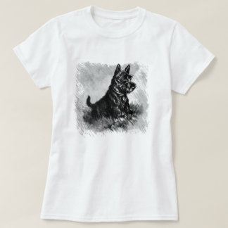 Scottie Puppy Charcoal Style Print T-Shirt