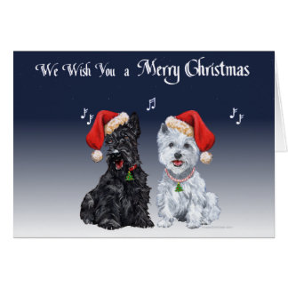 Scottie & Westie Christmas Carols Greeting Card
