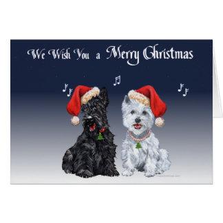 Scottie Westie Christmas Carols Greeting Cards