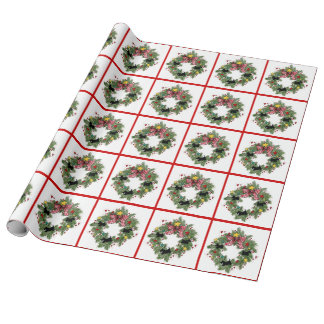 Scottie wreaths wrapping paper