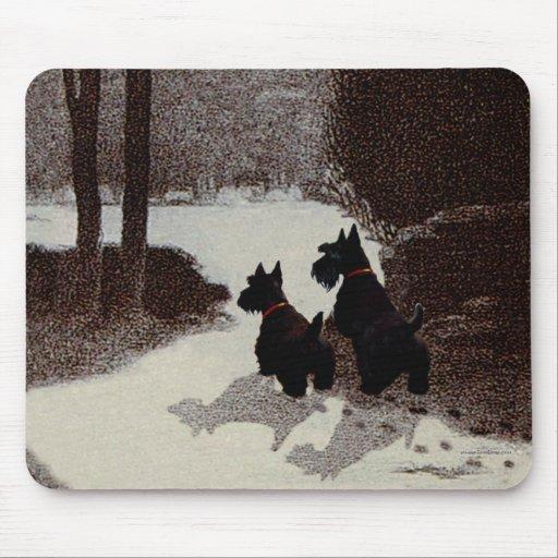 Scotties on Surreal Winter Night Mousepads