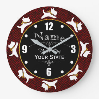 Scotties On The Run Personalize Large Clock