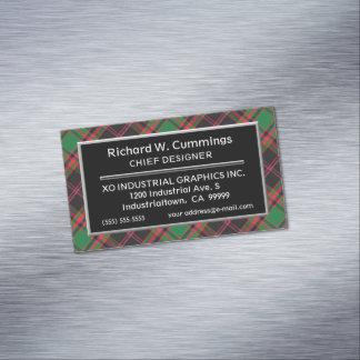 Scottish Accent Clan Cumming Hunting Tartan Magnetic Business Card