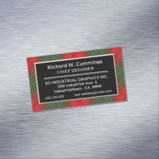 Scottish Accent Clan Cumming Red Tartan Magnetic Business Card