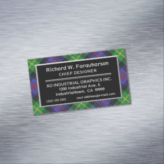 Scottish Accent Clan Farquharson Tartan Magnetic Business Card
