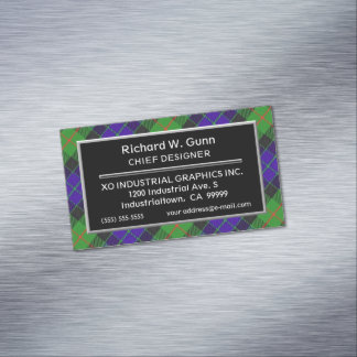 Scottish Accent Clan Gunn Tartan Magnetic Business Cards