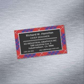 Scottish Accent Clan Hamilton Tartan Magnetic Business Card