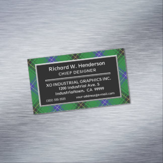 Scottish Accent Clan Henderson Tartan Magnetic Business Card