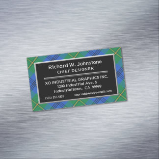 Scottish Accent Clan Johnstone Johnston Tartan Magnetic Business Card