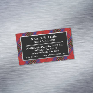Scottish Accent Clan Leslie Red Tartan Magnetic Business Card