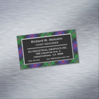 Scottish Accent Clan Malcolm Tartan Magnetic Business Card