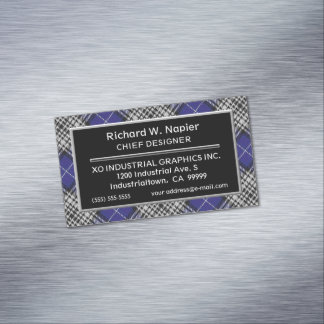 Scottish Accent Clan Napier Tartan Magnetic Business Card