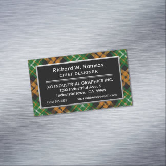 Scottish Accent Clan Ramsay Orange  Hunting Tartan Magnetic Business Card