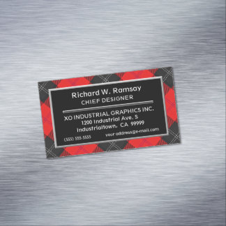 Scottish Accent Clan Ramsay Red and Black Tartan Magnetic Business Card