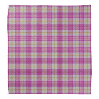 Scottish Accents Pink Yellow Tartan Plaid Bandana