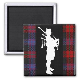 Scottish Bagpiper Square Magnet