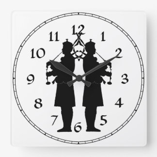 Scottish Bagpipers Silhouette Square Wall Clock