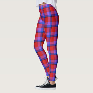 Scottish Blast Purple and Red Tartan Plaid Leggings