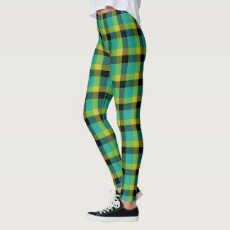 Scottish Blast Turquoise Yellow and Black Tartan Leggings